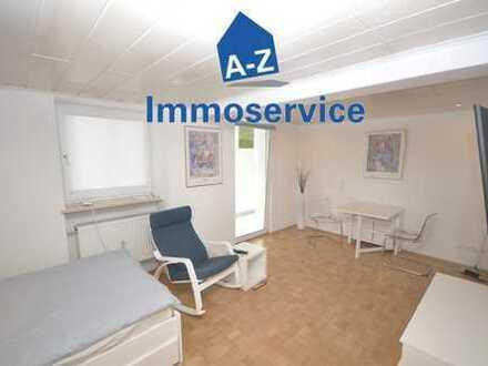 Komplett ausgestattete u. möblierte taghelle 1-Zimmer-Souterrain-Wohnung m. Wintergarten in Giesing