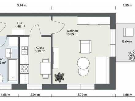 1-Raum-Wohnung mitten im Grünen