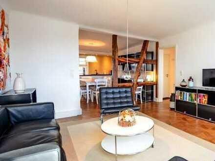 Topsanierte und vollmöblierte Wohnung mit Rheinblick in denkmalgeschütztem Altbau