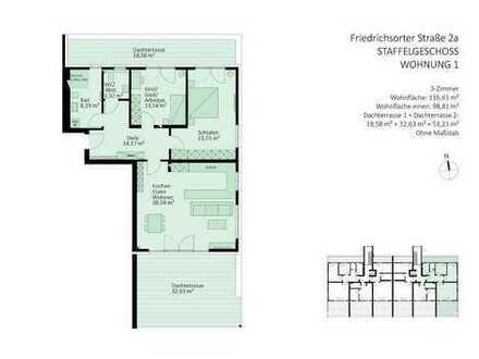Penthouse-Wohnung mit 2 Dachterrassen und offener oder geschlossener Küche