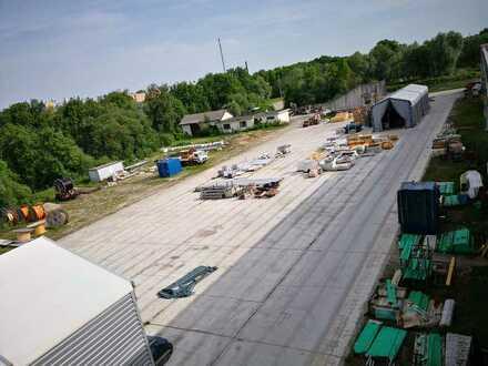 Teilflächen ab 500qm bis 5.000 qm eingezäunter Lagerplatz nähe BAB 96 zu verpachten