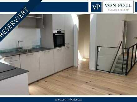 Von Poll Immobilien Erstbezug, Neubau-Maisonettewohnung mit Terrasse, Einbauküche, Dielenböden