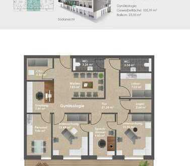 NEUBAU: CENTRO Vohburg; Moderne Praxen in optimaler Lage; 1.OG-Einheit mit 105 m² (provisionsfrei)
