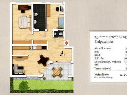 Erstbezug mit EBK und Terrasse: rollstuhlgerechte 3,5-Zimmer-Erdgeschosswohnung in Bisingen