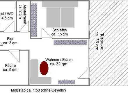Frisch renoviert an ruhiges Paar oder Einzelperson: schöne 2-ZWg.+Küche und großer Terrasse