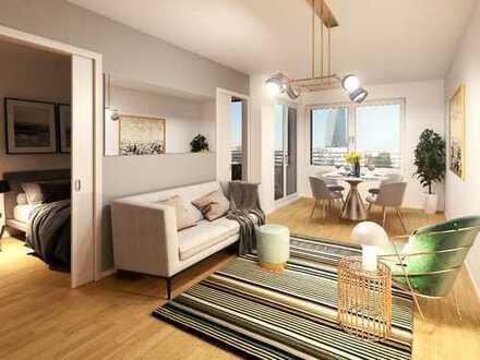 2-Zimmer-Wohnung mit zeitgemäßem Wohnkomfort und Süd-West-Loggia nahe Mainufer und EZB