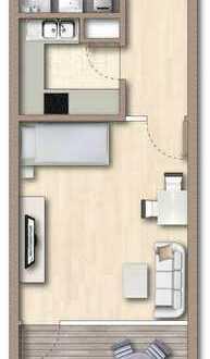 Gepflegte 1-Zimmer-EG-Wohnung mit EBK nach Absprache und eigenem Garten