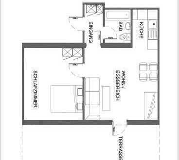 Karlsruhe Daxlanden: möblierte, sanierte 2-Zimmer-EG-Wohnung mit EBK und Terrasse