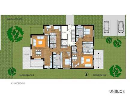 Neubau 3-Zimmer-Wohnung mit großer Terrasse und zugeordnetem Gartenanteil