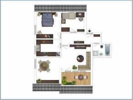 Attraktive 3,5-Zimmer-Dachgeschosswohnung mit Balkon und Einbauküche in Mosbach
