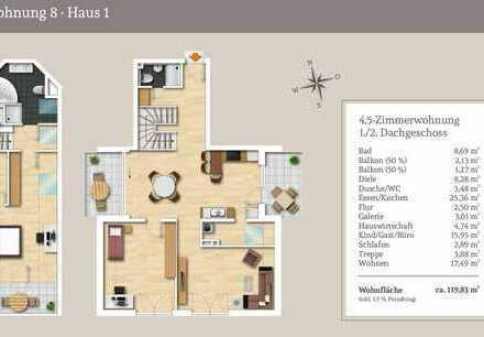Großzügiges Wohnen über 2 Etagen - Lichtdurchflutete 4,5-Zi.-Maisonettewohnung