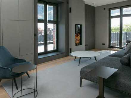 luxuriös möblierte 2,5-Zimmer-Wohnung mit Dachterrasse, Loggia und Kamin im Herzen von Bocholt