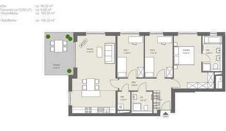 Provisionsfrei: 4 Zimmer Wohnung mit Garten & begehbarem Kleiderschrank