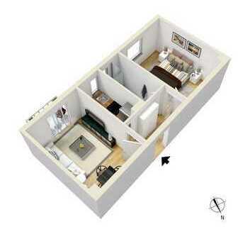SCHWIND IMMOBILIEN - zentrale 2-Zimmer Wohnung mit Balkon +++WG-geeignet+++
