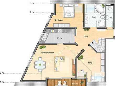 Traumhafte und sonnige 5 Zimmer DG Maisonette Wohnung in Ortsrandlage