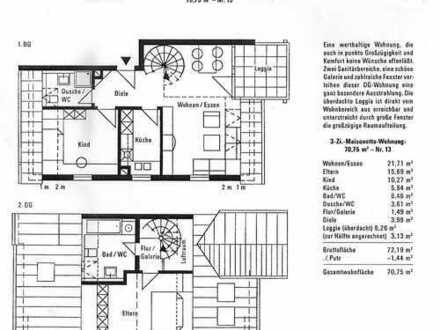Helle, freundliche 3-Zimmer-Maisonette-Wohnung mit Balkon in Herrenberg-Kuppingen mit 2 x TG