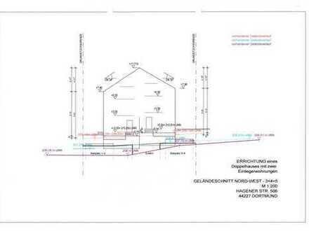 Baugrundstück für Doppelhaus mit je einer Einliegerwohnung (= 4 WE) im Dortmunder Süden zu verkaufen