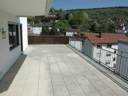 Traumhafte 3,5-Zi.-Wohnung mit riesiger Terrasse und toller Aussicht- 2 Etagen & EBK