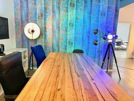 Industrie-Style - Büro (2 Z.) + Empfangsbereich in offenem Workspace + ausgefallene Allgemeinflächen