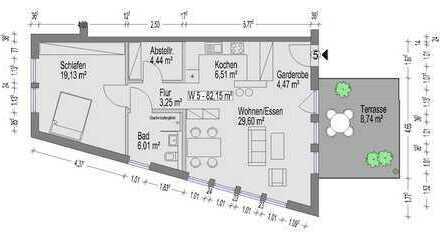 Zweizimmerwohnung mit 82 m² (W5)