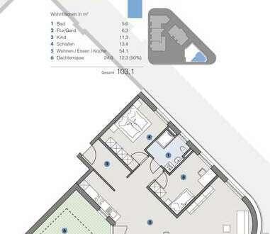 2. Großzügige, luftige Wohnung für Familien - T5 Wohnareal - fortschrittlich, nachhaltig, innovativ