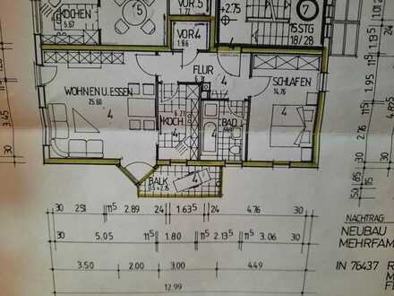 Sonnige, gut geschnittene 2-Zimmer-Wohnung in kleiner Einheit mit Balkon und Abstellplatz in Rastatt