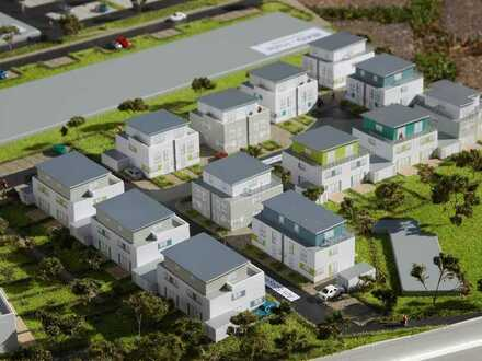 Moderen Doppelhaushälfte mit Dachterrasse und Garten