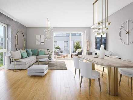 Umlaufende Südwest-Dachterrasse in Ihrer 2-Zimmer-Wohnung im 3. OG mit offener Wohnküche