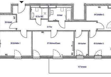 4 Zi, 96 qm, Terrasse, Einbauküche zum Erstbezug - Wohnberechtigungsschein erforderlich!!