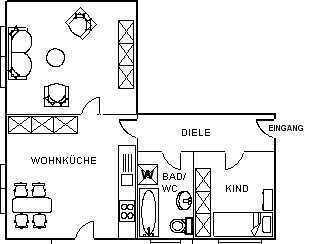 Helle 2-Zimmer Wohnung in ruhiger Lage
