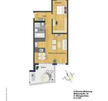 TOP 2- Zimmer Wohnung im 2.OG ( Haus 2, Whg. 16 )