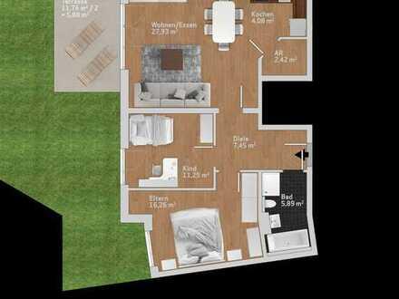 praktische 3 ZKB im Erdgeschoss