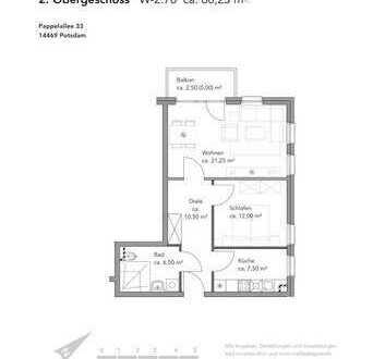 Großzügigie 2 Zimmerwohnung im Dachgeschoss zu vermieten !
