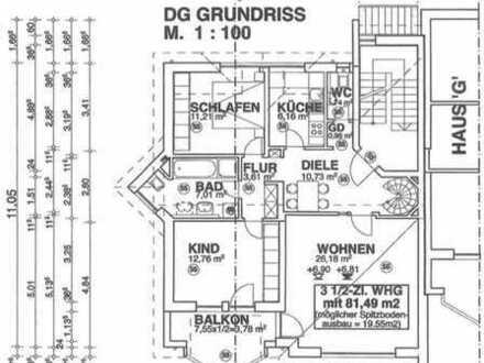 Coburg Weidach: NEUBAU : DG 3 Zimmer ETW mit BALKON, am Wald, mit Dachbodennutzung etc...
