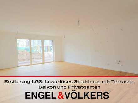 Erstbezug-LGS: Luxuriöses Stadthaus mit Terrasse, Balkon und Privatgarten