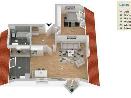 Helle 2-Zimmerdachgeschosswohnung mit Balkon