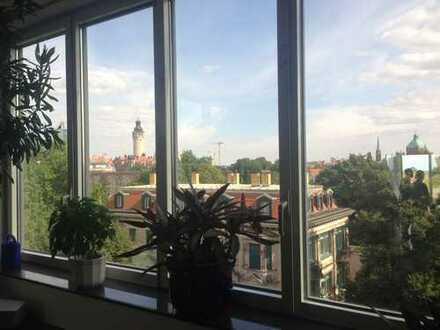 Penthouse, Dachterrasse, Aussicht, Johannapark, Zentrum,Wohnküche,Bestlage