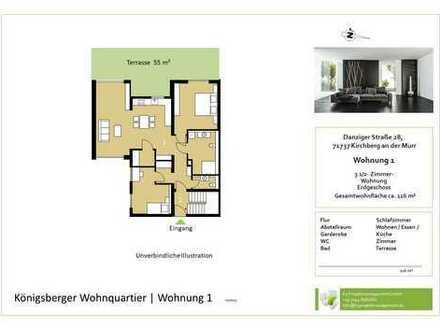 Sonnige 3,5-Zimmer-Whg. im EG mit Gartenanteil (Whg. 1)