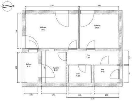 Freundliche 2-Zimmer-Wohnung teilmöbliert mit Loggia und EBK