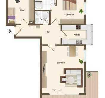 Schöne vermietete 3 Zimmerwohnung in grüner Lage!