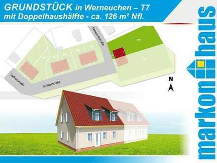 Werneuchen - Grundstück T7 bebaubar mit Doppelhaushälfte z.B. mit ca. 126 m² Nfl.