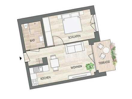 Altersgerechte 2-R-Wohnung direkt am Waldrand