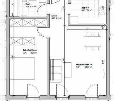 Exklusive 2-Zimmer-Wohnung mit großen Balkon und Dusche auf der Südhöhe!
