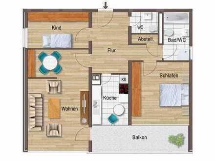 Stilvolle, sanierte 3-Zimmer-Wohnung mit Balkon,keller und EBK in Karlsruhe Innen-West-Stadt.