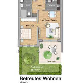 NEU Haus 4: Betreutes Wohnen: Zweizimmerwohnung mit Garten