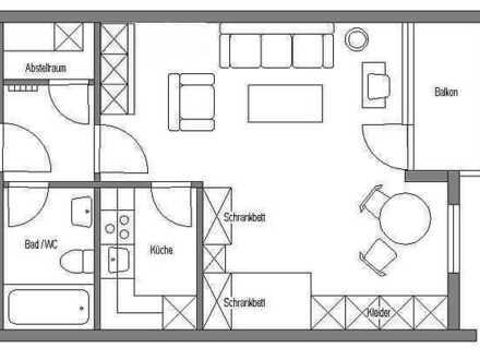 Stgt.-Degerloch, 1-Zi-Apmt, möbliert, 39m², EBK, Balkon, Laminat, HMS, ruhige Lage