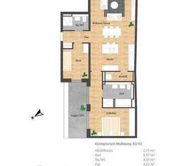 Große 2-Zimmer-Erdgeschoss-Wohnung mit 2 Loggien und 2 Bädern im Hatz-Areal - Das Tor zur Innenstadt