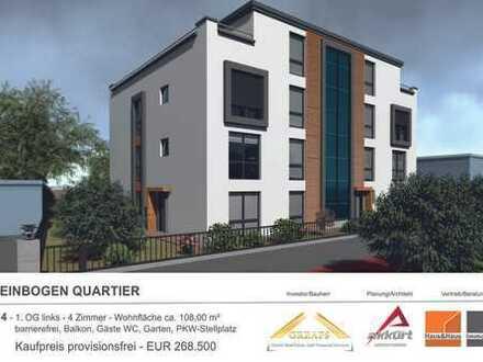 RHEINBOGEN QUARTIER - WE 4 - 1. OG links, barrierefreie 4 Zimmerwohnung mit Balkon und Garten