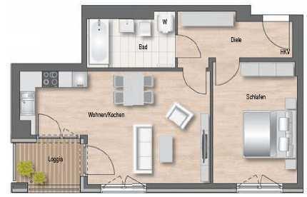 Wunderschöne 2-Zimmer Wohnung mit Loggia in bester Lage! Ruhig, Grün, Verkehrsgünstig