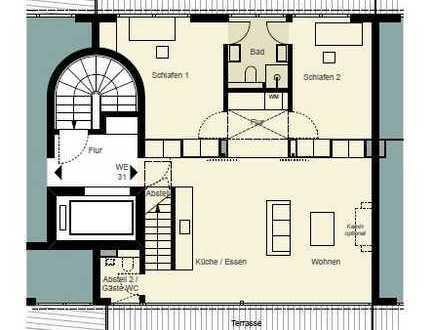 0172-3261193, SOFORTBEZUG / Penthouse mit Dachterrasse, Kamin, Klimatisierung, Gäste-WC mgl.
